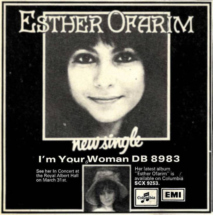 Esther Ofarim - advert for I'm your Woman single 1973