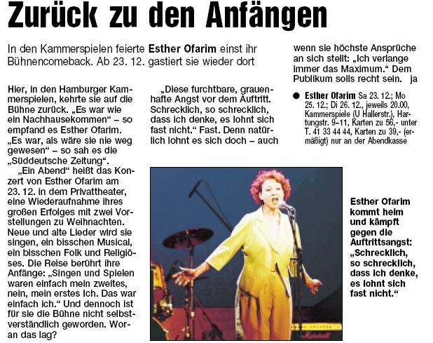 Hamburger Abendblatt - Esther Ofarim