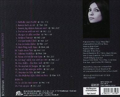 back of the CD Melodie einer Nacht by Esther Ofarim