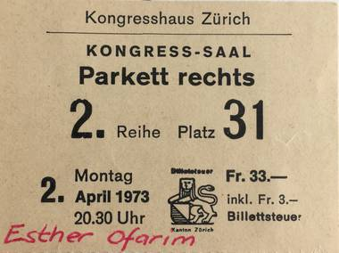 Original Ticket - Concert in Zurich, 1973 - foto (c) Reto Maag
